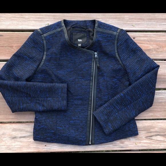 Mossimo Supply Co. Jackets & Blazers - Mossimo Blue Tweed and Faux Leather Blazer Jacket